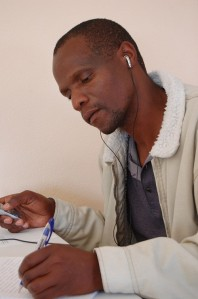 transcribing practice interview, oral testimony workshop, Swaziland