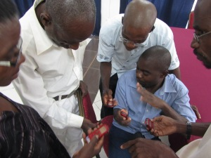 learning to use voice recorders, oral testimony workshop, Mozambique